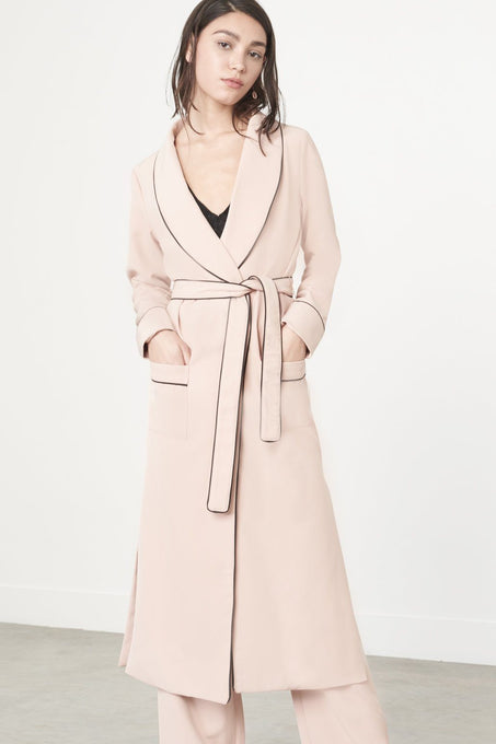 Rose Nude Pyjama Style Side Split Belted Long Jacket