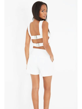 White Harness Strap Detail Crop Top