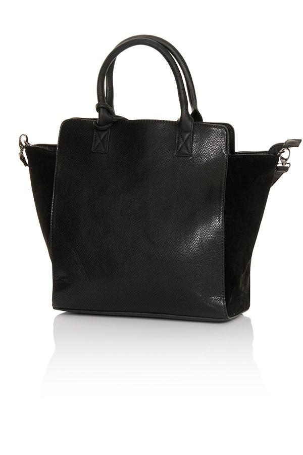 Black Tassel Detail Oversized Wing Tote Bag