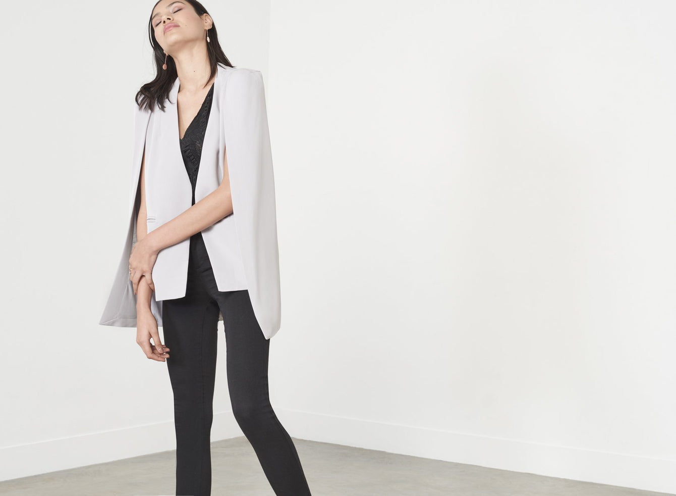 Grey Collarless Cape Blazer