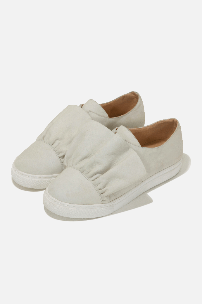 Leather Ruffle Trainers in Stone
