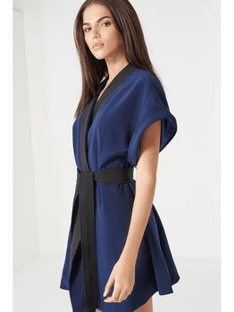 Navy & Black Sash Tie Detail Mini Dress