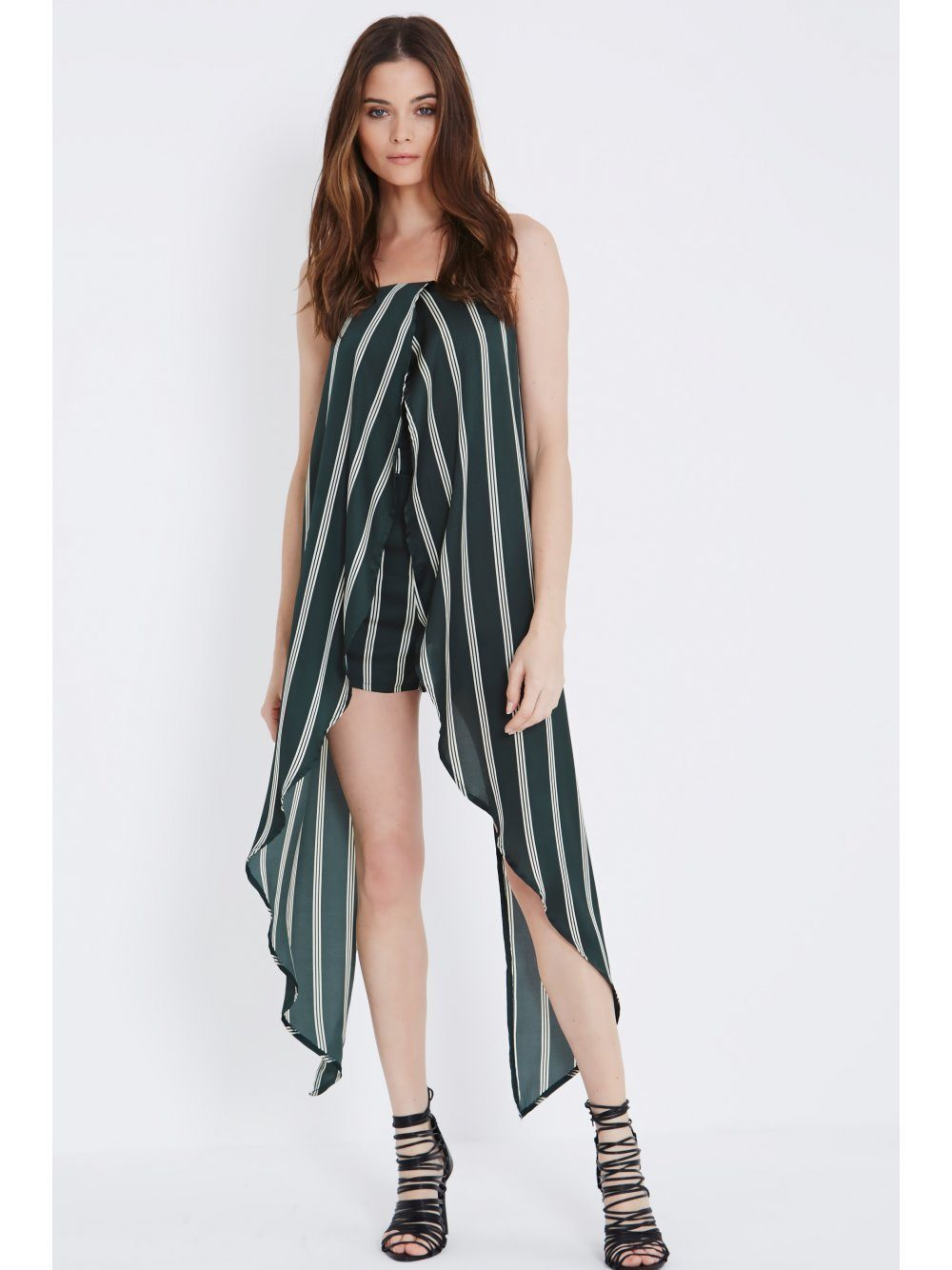 Olive Green & Cream Stripe Print Bandeau Maxi Cape Playsuit