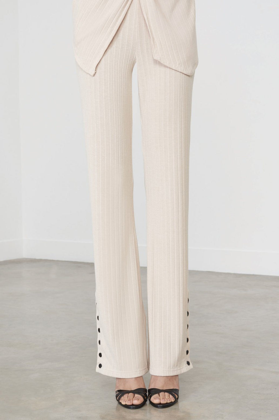 Button Detail Trousers in Sand Knit