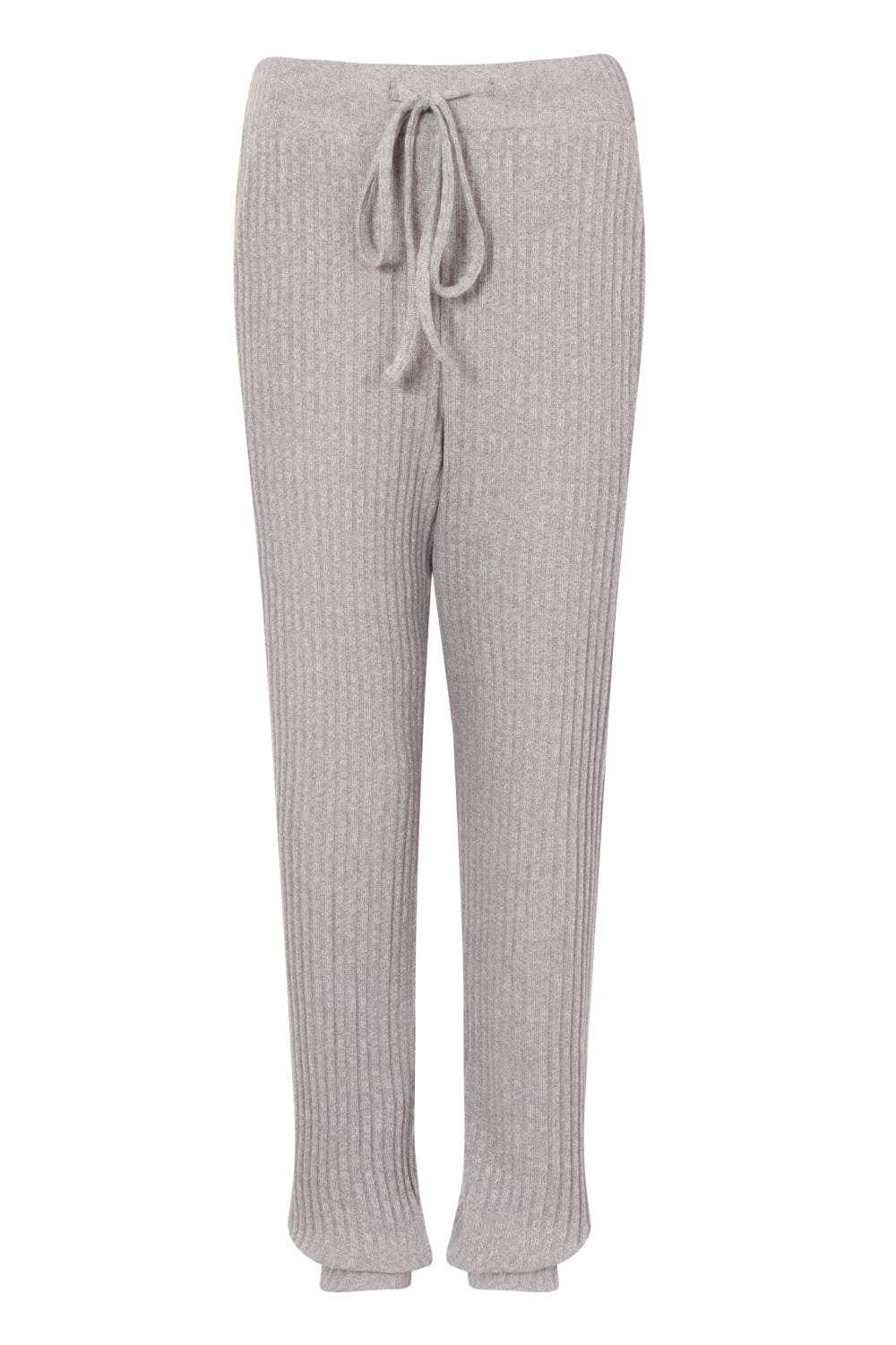 Grey Rib Knit High Waisted Cuff Joggers