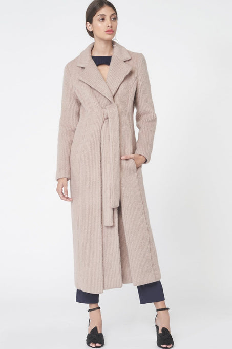 Brushed Wool Tie Front Duster Coat in Stone