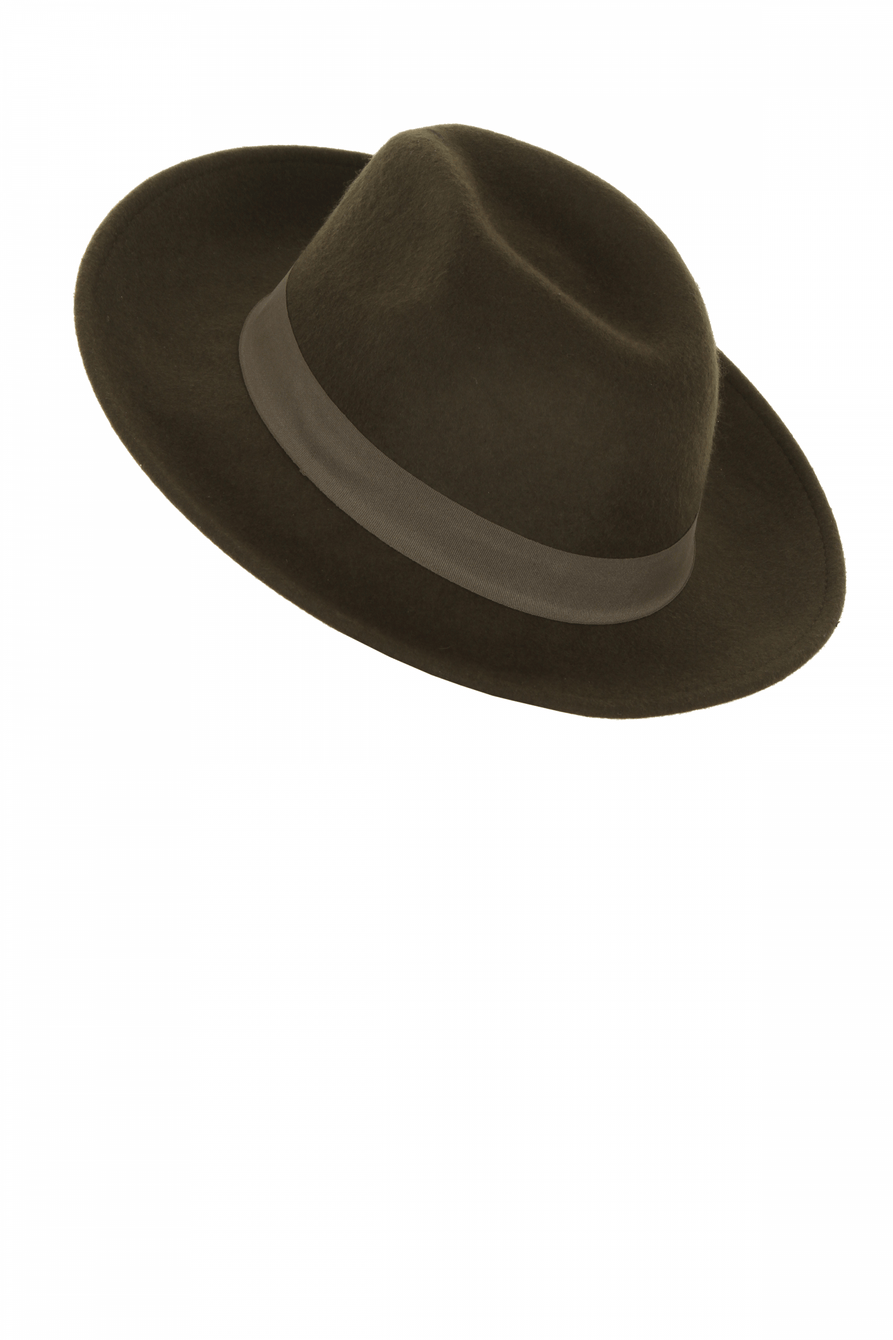 Olive Green Wool Fedora Hat