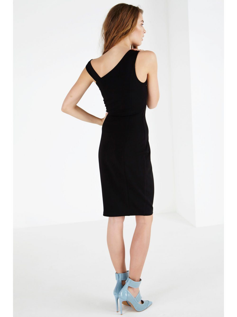 ced84c325 Black Asymmetric Shoulder Strap Bodycon Midi Dress | Lavish Alice