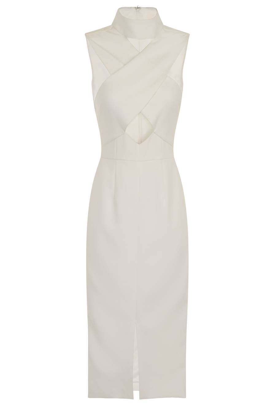 Off White High Neck Cut-Out Detail Centre Split Midi Dress