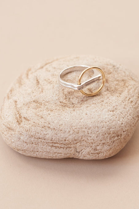 Open Circle Ring in Gold Plated Sterling Silver