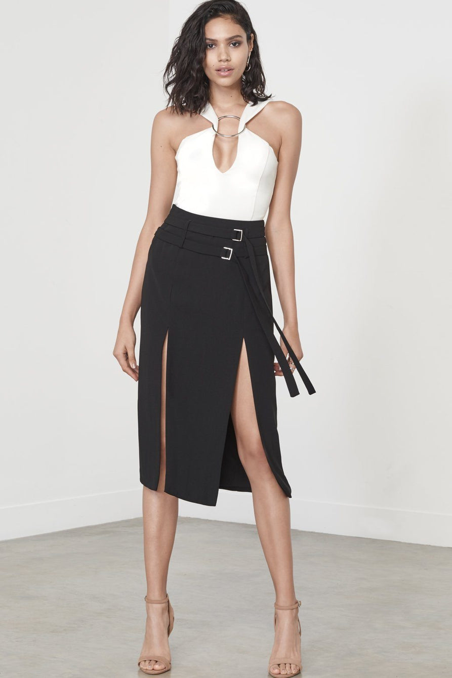 Black Double Split Midi Skirt