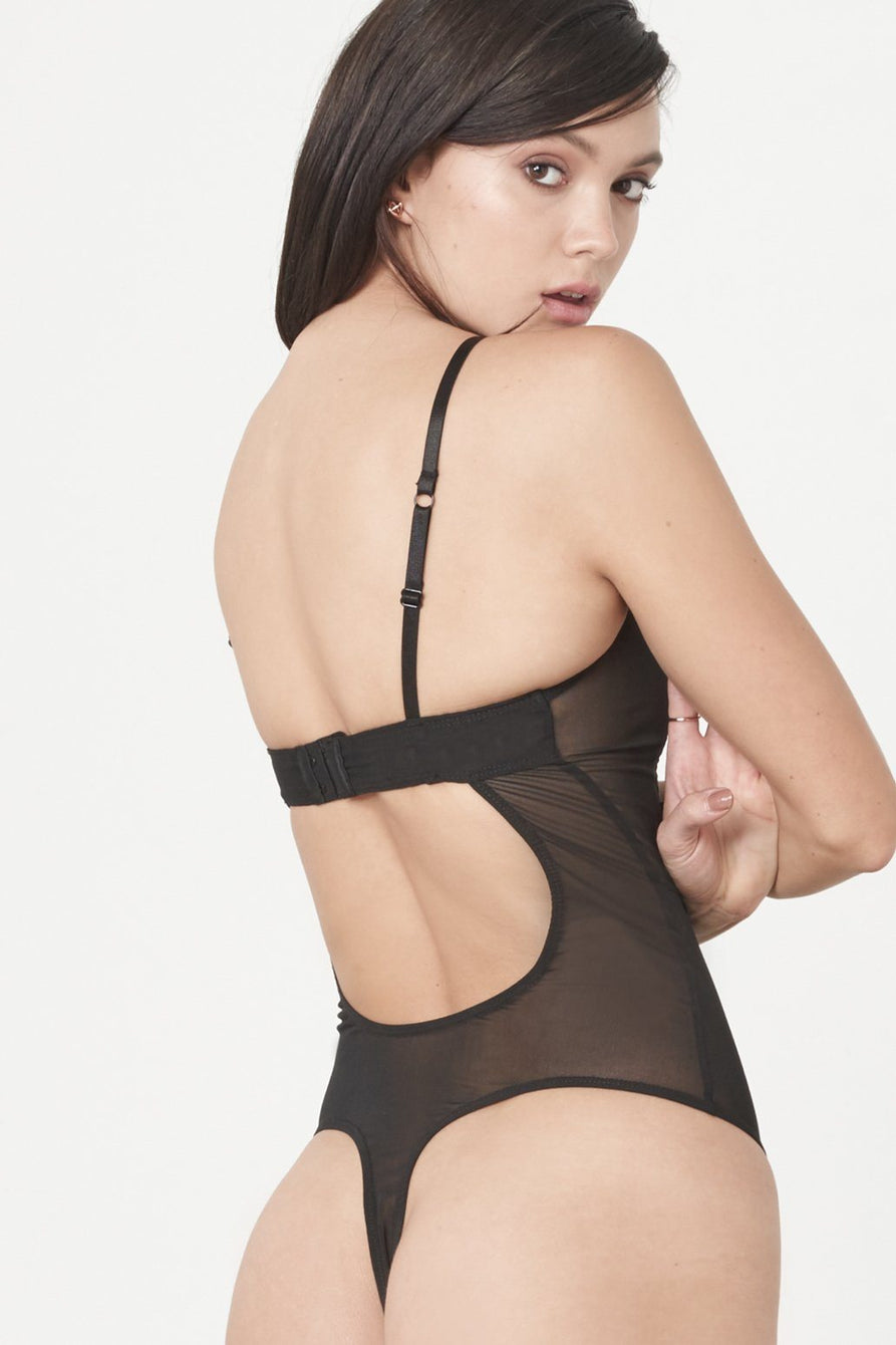 Black Crochet Insert Cut Out Detail Mesh Thong Body