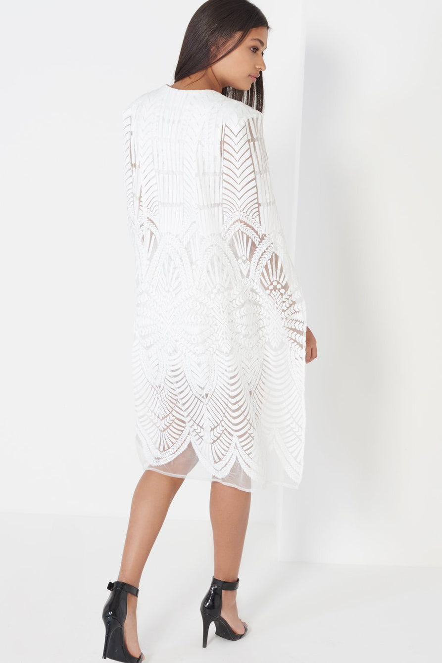 White Embroidered Mesh Maxi Cape Mini Dress