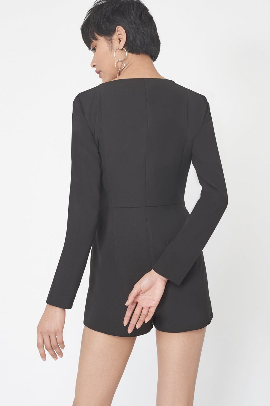 Double Breasted Blazer Playsuit in Black