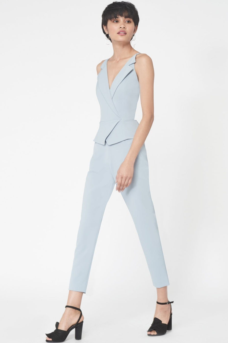 Cami Waistcoat Jumpsuit in Powder Blue