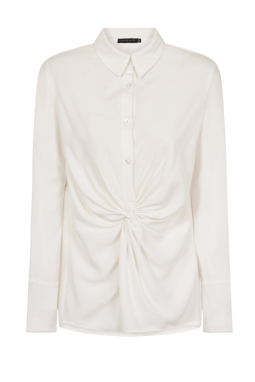 Twist-Front Shirt in White