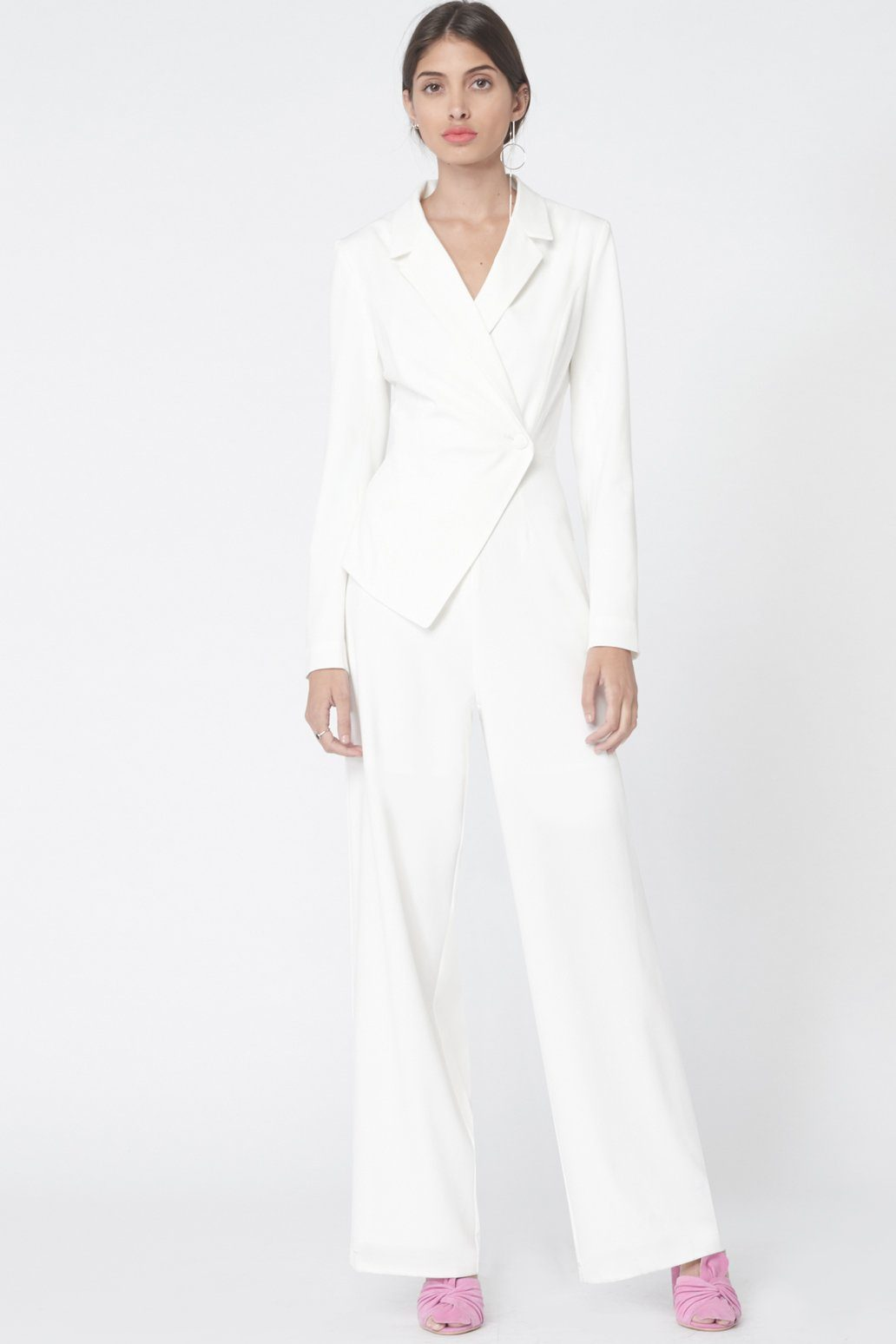 Asymmetric Tuxedo Style Jumpsuit in Off White