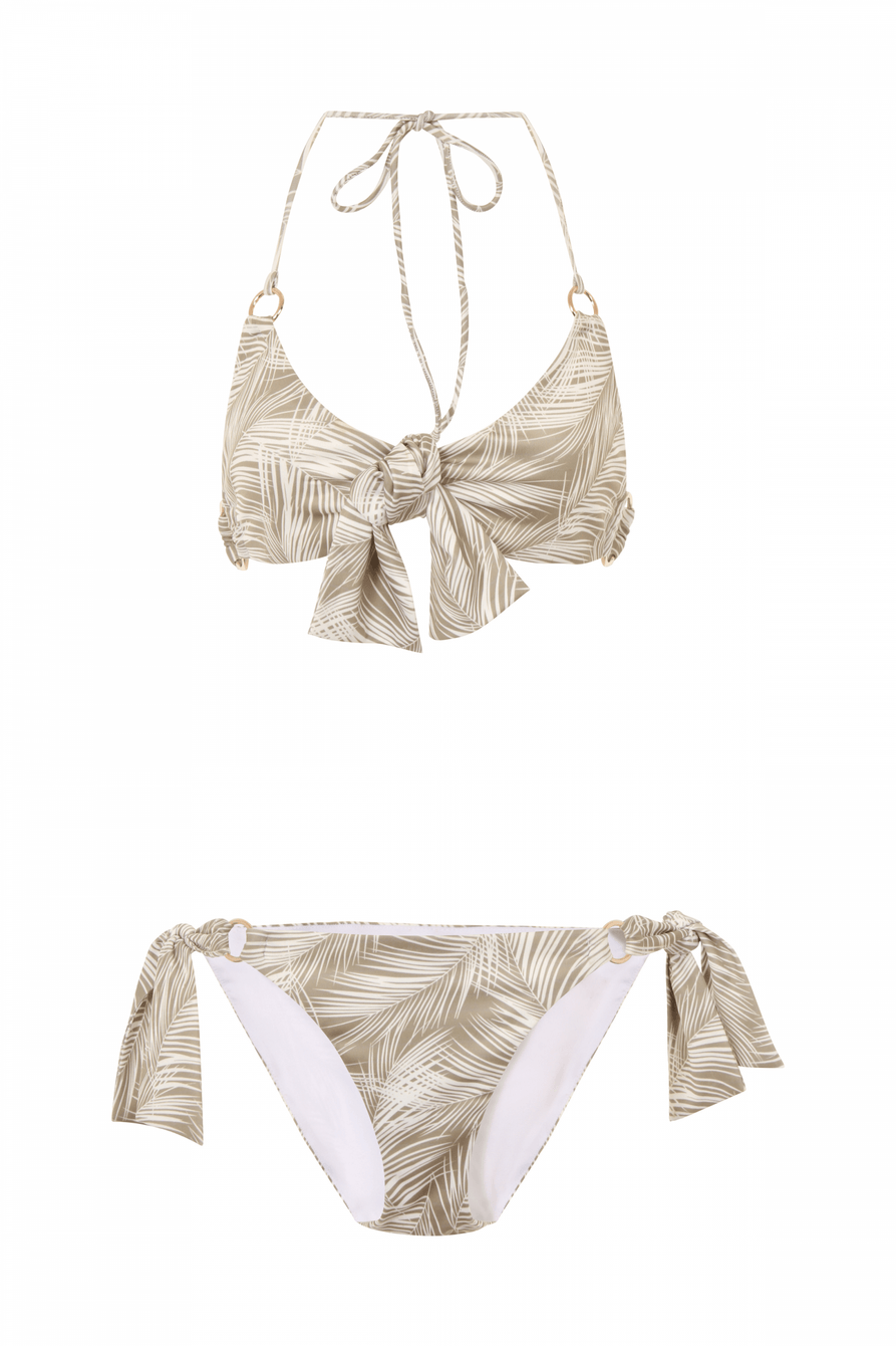 Khaki Palm Print Tie Side Bikini Bottoms