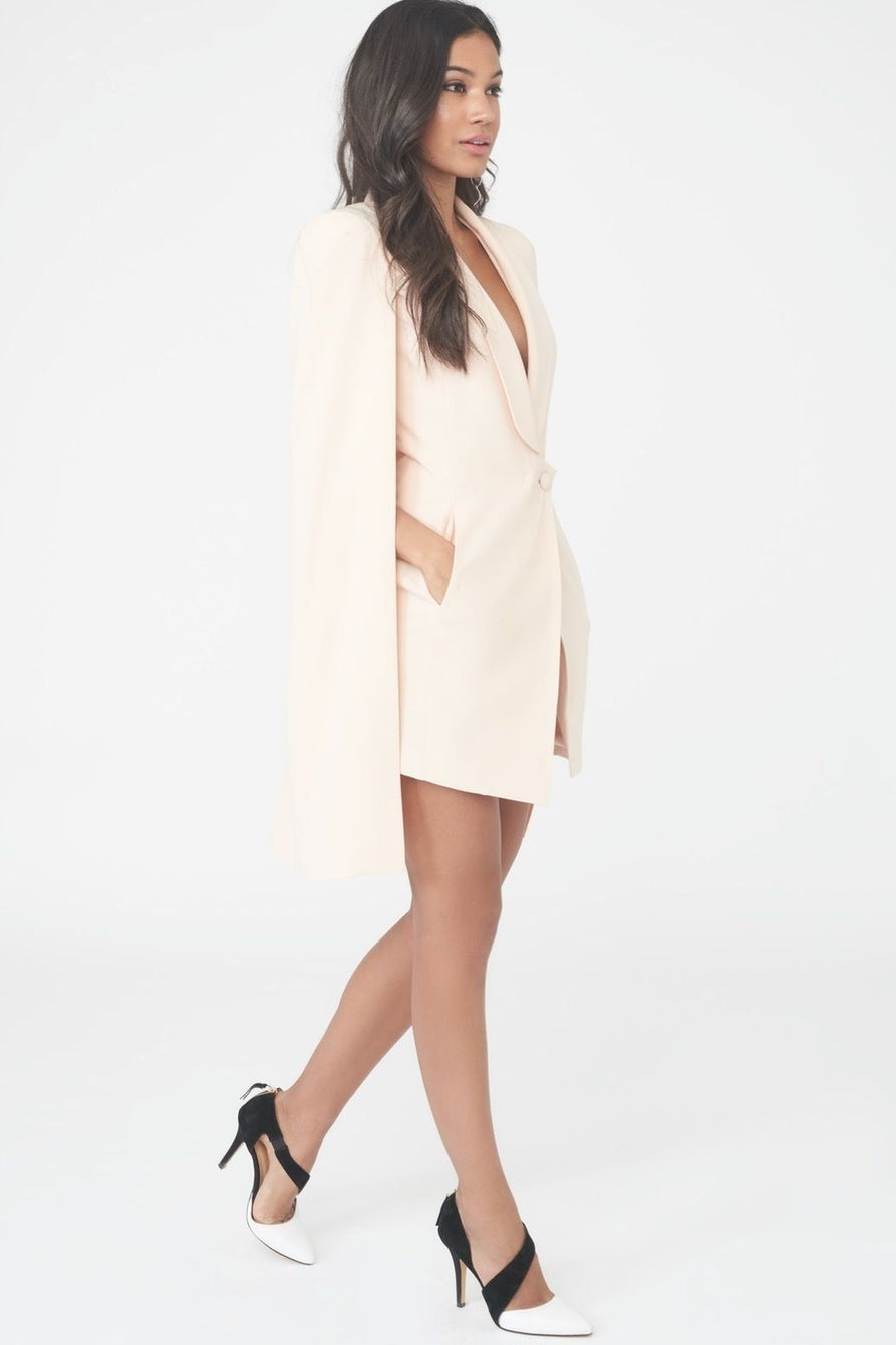 Tuxedo Split Back Cape Dress