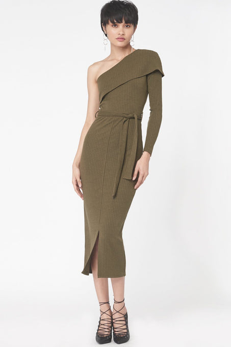 One Shoulder Rib Knit Midi Dress in Khaki