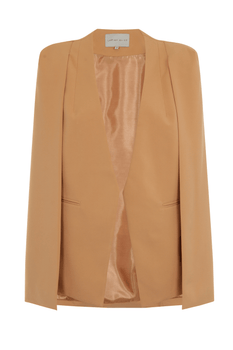 Camel Collarless Cape Blazer