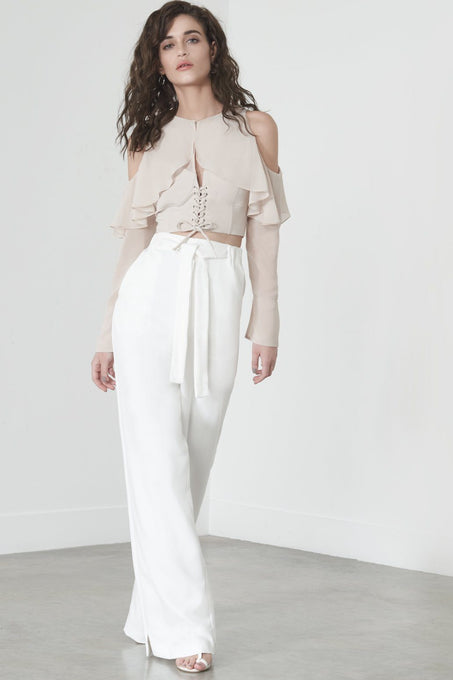 Split Side Trousers in Off White