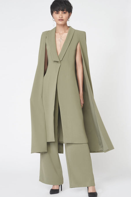 Tailored Midi Cape Blazer in Khaki