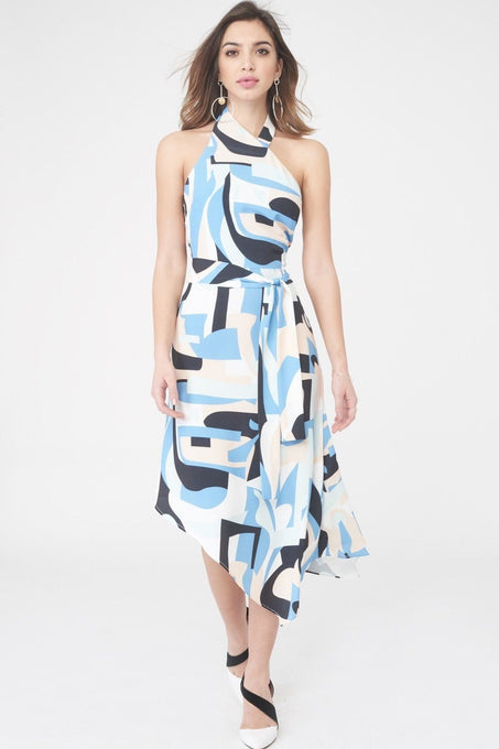 Abstract Print Halterneck Dress