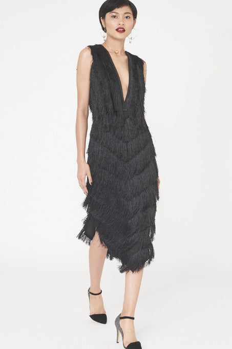 Black Fringed Lace Dress