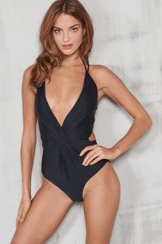 Black Deep Plunge Lace Up Back Swimsuit