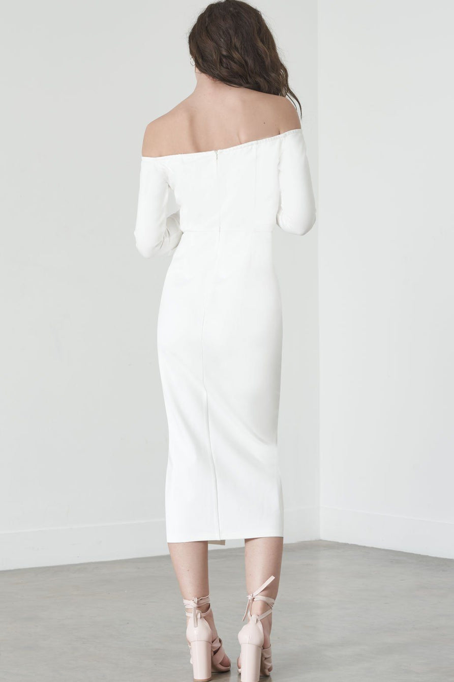 Tie-Front Cold Shoulder Dress in White