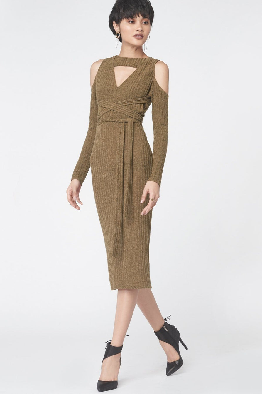 Criss Cross Keyhole Rib Knit Dress in Khaki