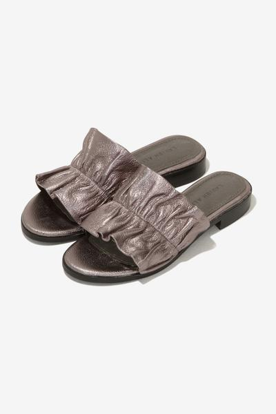 Leather Ruffle Sliders in Silver