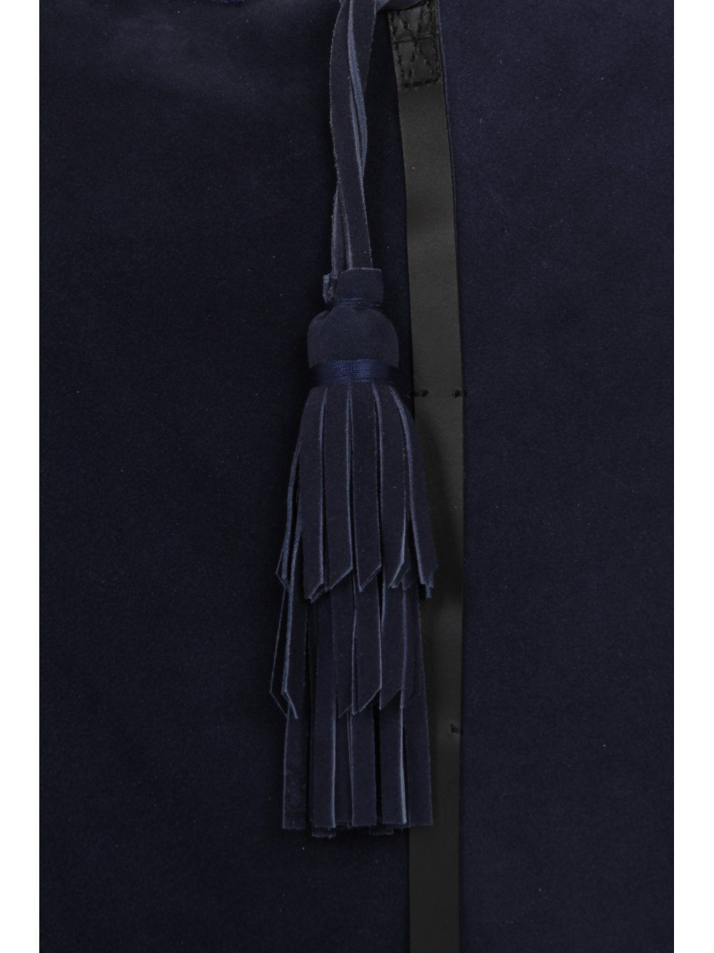 Navy Blue Suede Tassel Detail Oversized Shopper