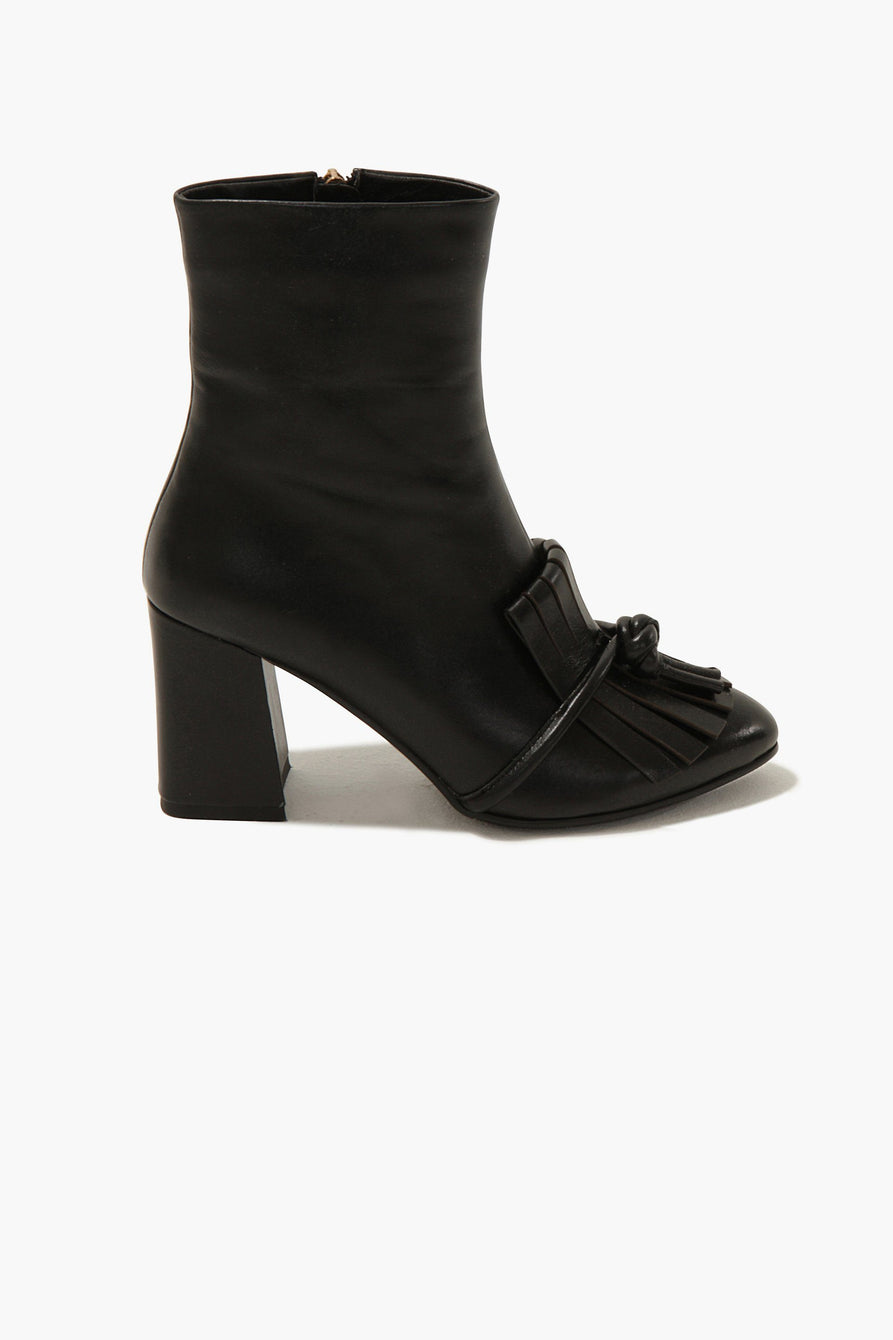 Fringed Ankle Boots in Black Leather