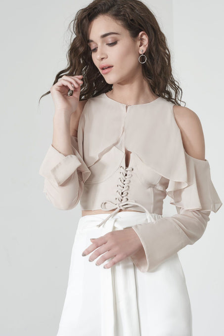 Corset Overlay Crop Top in Soft Nude