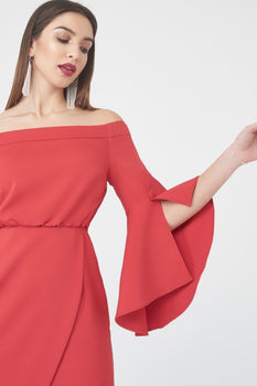 Bell Sleeve Bardot Dress in Red