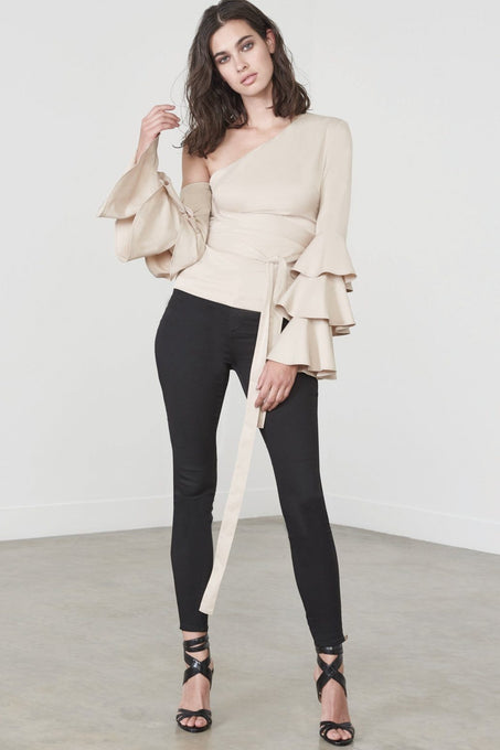 Ruffle Sleeve Asymmetric Top in Sand