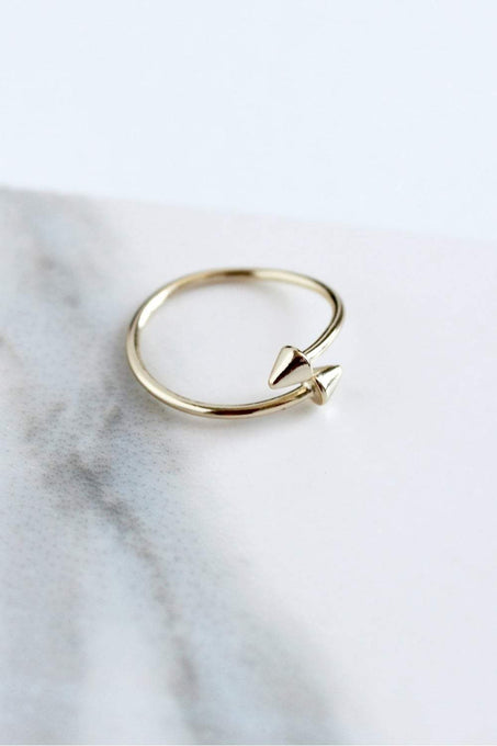 Sterling Silver Gold Plated Open Arrow Head Ring