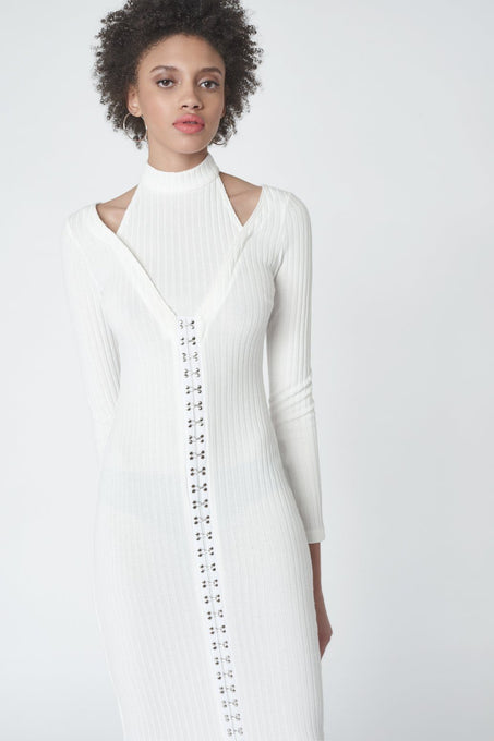 Hook & Eye Detail Midi Dress in Off White Knit