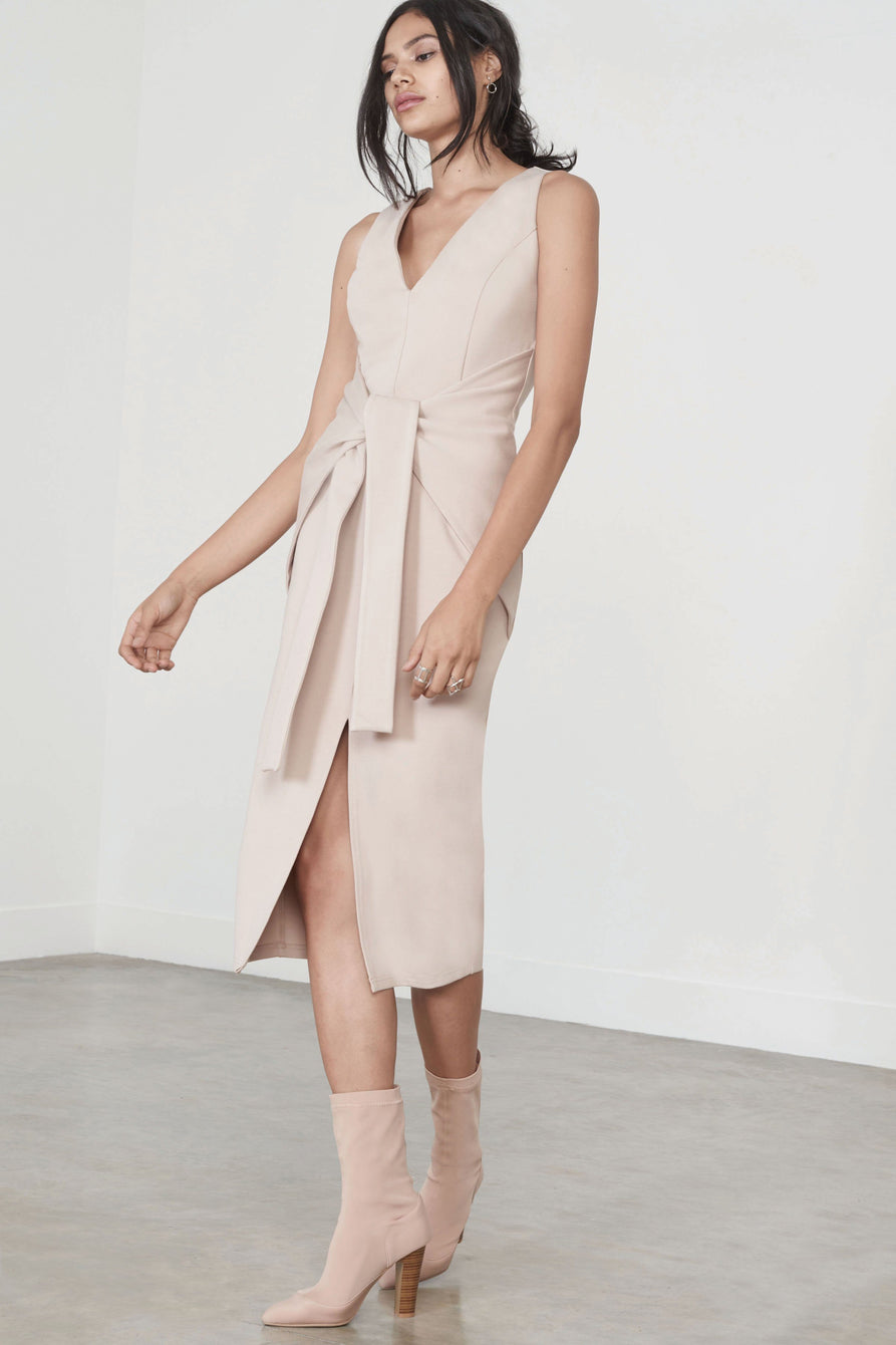 Tie-Front Tailored Dress in Sand