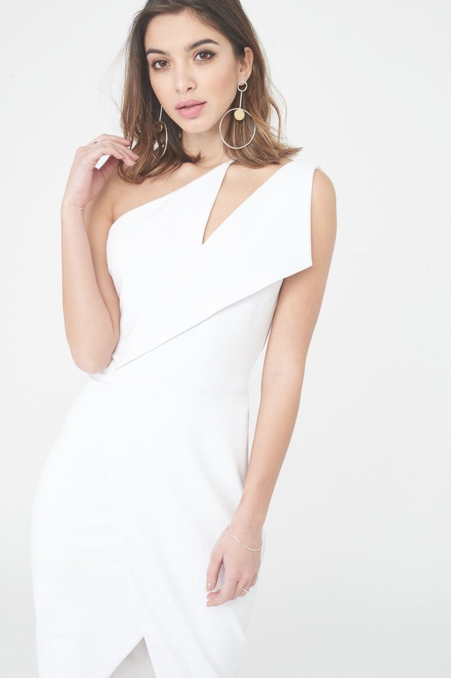 One Shoulder Midi Wrap Dress in White