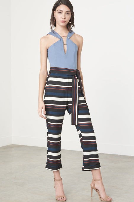 Teal, Tan, Black & Cream Stripe Print Tie Belt Cropped Trousers