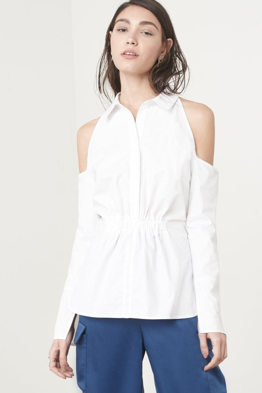 Cold Shoulder Shirt in White Cotton