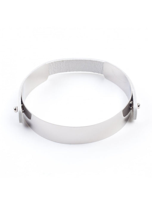 WADE Mirror Polished Silver Detachable Leather Strap Slim Choker