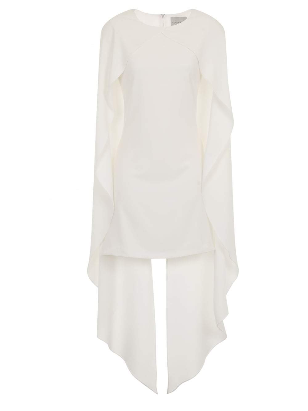 White Maxi Cape Overlay Shift Dress