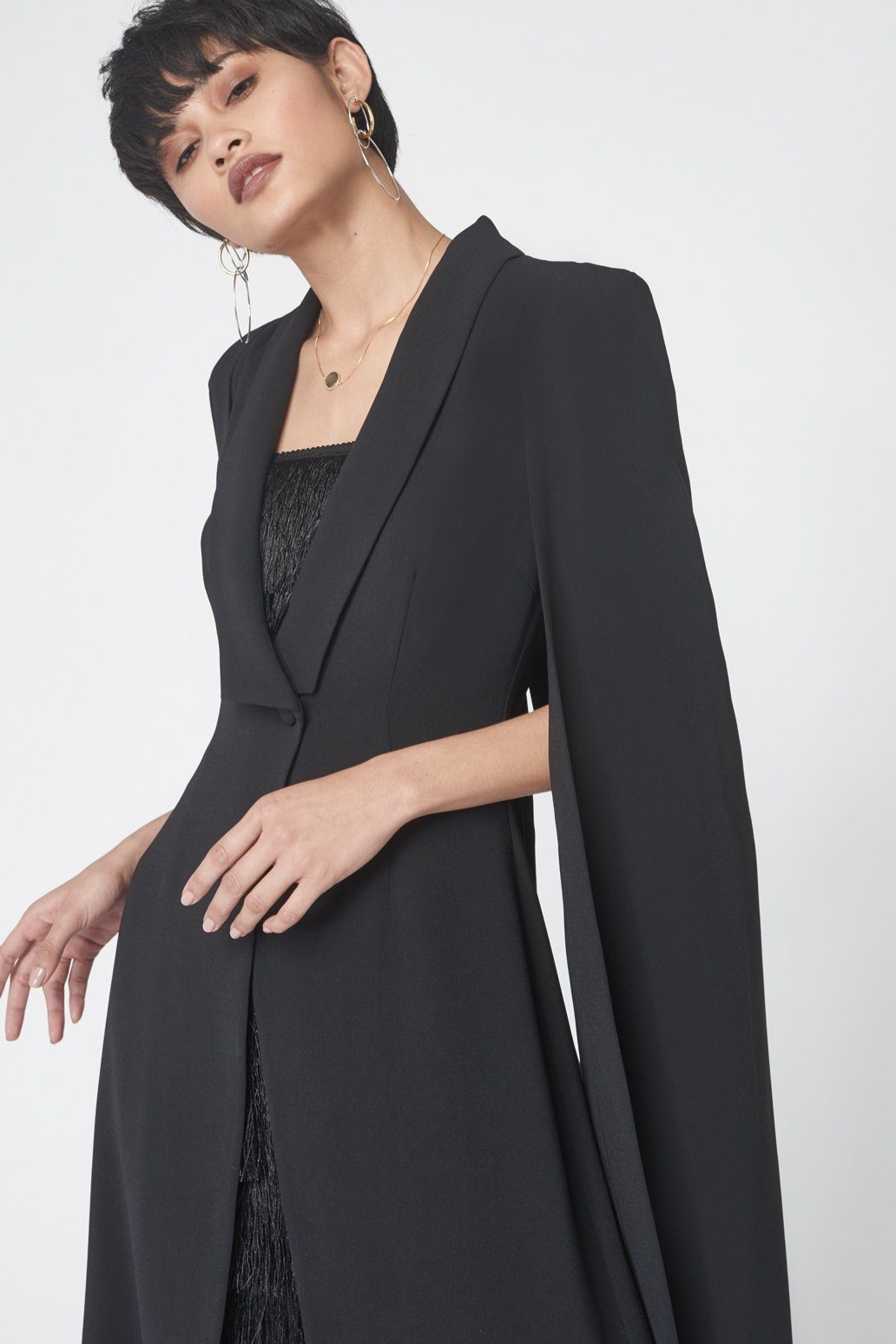 Tailored Midi Cape Blazer in Black