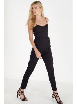 Black Crossover Bralet Tapered Leg Jumpsuit