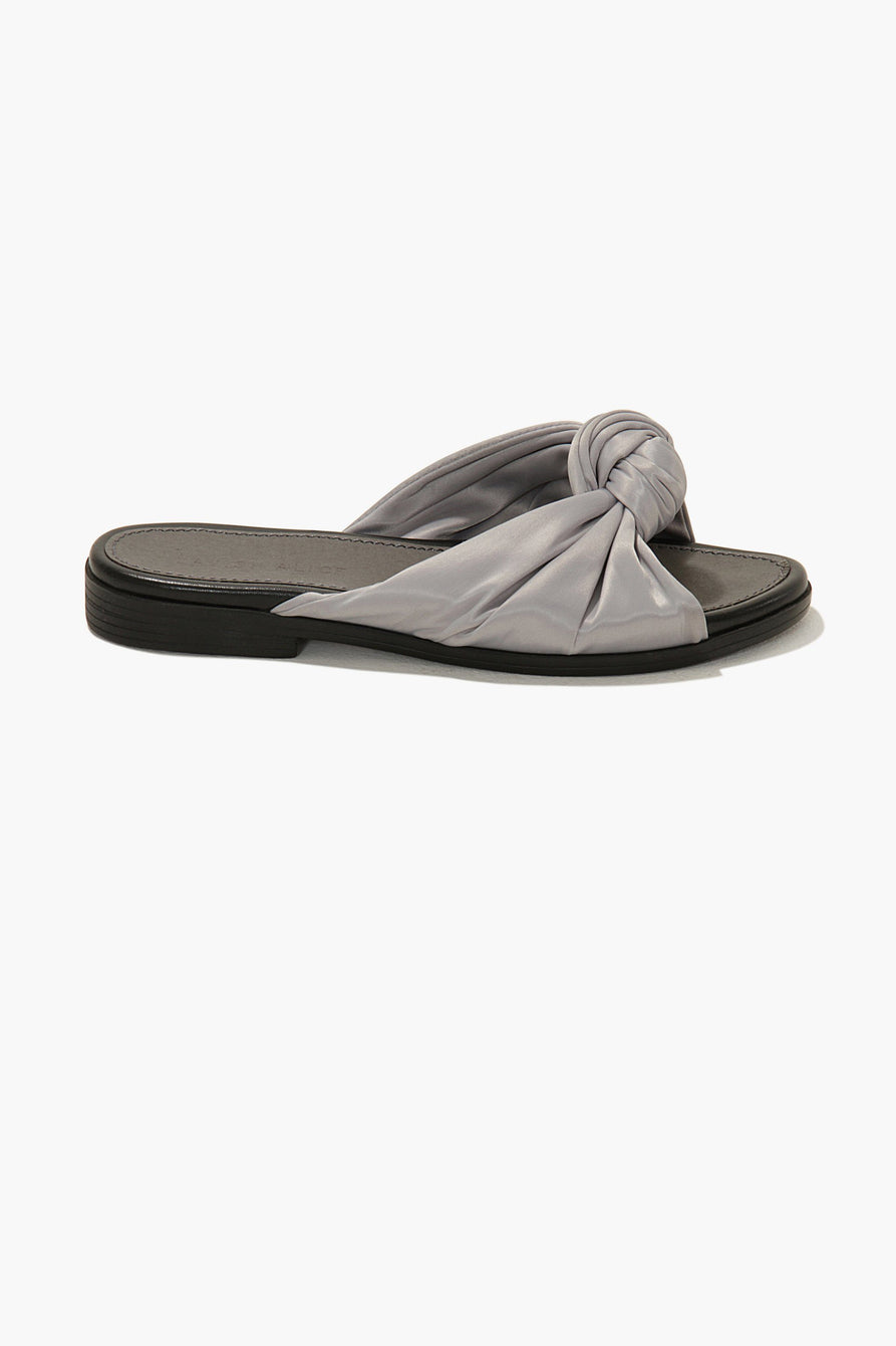 Knot-Top Slides in Grey Satin