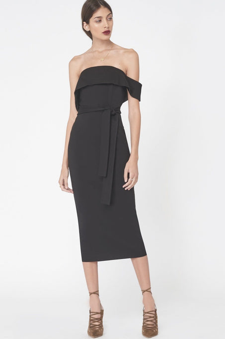 Asymmetric Bandeau Midi Dress In Black